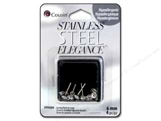 beading & jewelry making supplies: Cousin Elegance Metal Earring Post 6 mm 4 pc. Stainless Steel