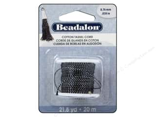 beading & jewelry making supplies: Beadalon Cotton Tassel Cord 21.8 yd. Metallic Silver & Black