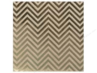 "Bazzill Paper 12""x 12"" Kraft With Gold Foil Chevron"