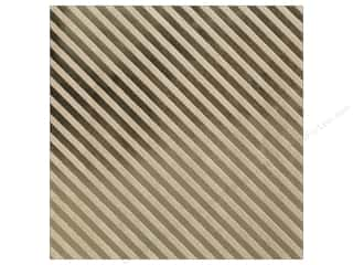 "Bazzill Paper 12""x 12"" Kraft With Gold Foil Stripe"