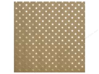 "Bazzill paper 12x12: Bazzill Paper 12""x 12"" Kraft With Gold Foil Stars (15 pieces)"