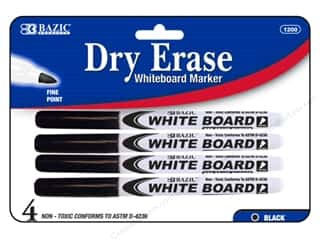 craft & hobbies: Bazic Basics Dry Erase Markers 4 pc. Fine Tip Black