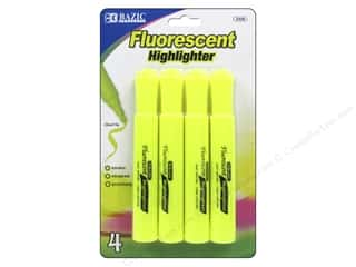 Highlighters: Bazic Basics Highlighters 4 pc. Fluorescent Yellow