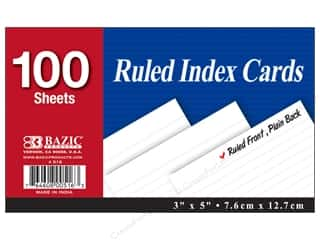 Bazic Basics Index Cards 3 x 5 in. 100 pc. Ruled White