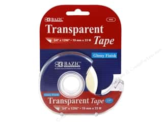 glues, adhesives & tapes: Bazic Basics Transparent Tape with Dispenser 3/4 x 1296 in.