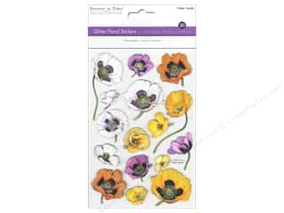 theme stickers  floral: Multicraft Sticker Glitter 3D Floral Pansies