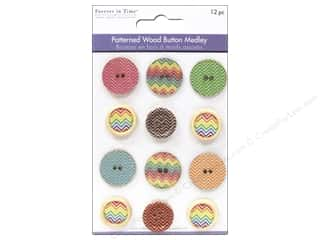 Clearance Feltables Fashion Embellishment: Multicraft Buttons Wood Patterned Medley Assorted (24 sets)