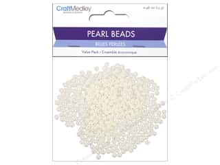 beading & jewelry making supplies: Multicraft Bead Pearl 4mm Ivory 480pc