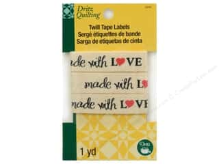 sewing & quilting: Dritz Twill Tape Labels Made with Love 36 in.