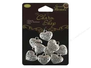 beading & jewelry making supplies: Sweet Beads Charms Metal Heart 9 pc. Silver