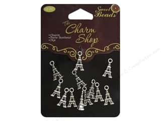 beading & jewelry making supplies: Sweet Beads Charms Metal Eiffel Tower 12 pc. Silver