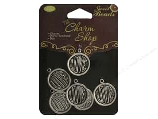 craft & hobbies: Sweet Beads Charms Metal Love 6 pc. Silver