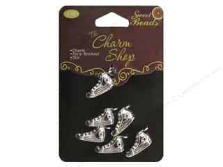 beading & jewelry making supplies: Sweet Beads Charms Metal Sneaker 6 pc. Silver