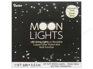 Darice Light Moon LED with Timer 6.56ft Silver Wire 60 Soft White