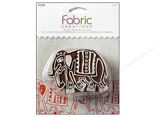 stamps: Plaid Fabric Creations Block Printing Stamp Medium Parade Elephant