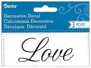 Clearance: Darice Decorative Decal 1 3/4 x 4 1/2 in. Love 3 pc.