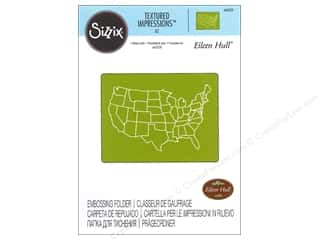 embossing folder: Sizzix Textured Impressions Embossing Folders 1 pc. United States Map