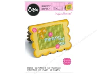 Sizzix Framelits Dies Card Scallop with Flowers & Sentiment Drop Ins by Stephanie Barnard