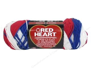 striping yarn: Red Heart Team Spirit Yarn #1776 Red/White/Blue 244 yd.