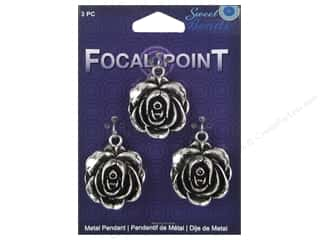 Sweet Beads EWC Focal Point Pendant Metal Rose Silver 3pc