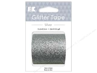 glues, adhesives & tapes: Best Creation Glitter Tape 2 in. x 5 1/2 yd. Silver