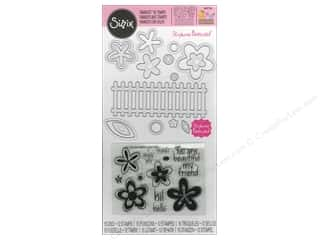 Sizzix Framelits Die and Stamp Flowers & Fence by Stephanie Barnard