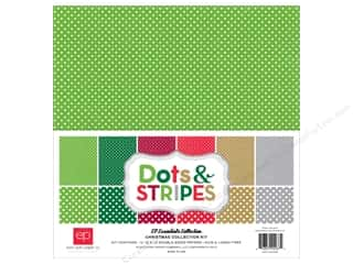 Clearance Echo Park Collection Kit: Echo Park 12 x 12 in. Collection Kit Dots & Stripes Christmas