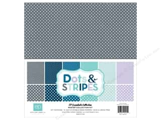 Clearance Echo Park Collection Kit: Echo Park 12 x 12 in. Collection Kit Dots & Stripes Winter
