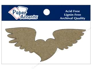 Paper Accents Chipboard Shape Heart with Wings 6 pc. Kraft