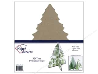 Paper Accents Chipboard Shape 8 in. 3D Tree 1 pc. Natural