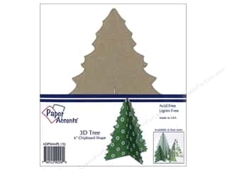 Paper Accents Chipboard Shape 6 in. 3D Tree 1 pc. Natural