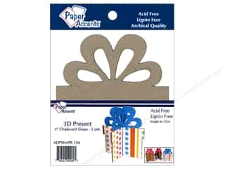 Paper Accents Chipboard Shape 4 in. 3D Present 2 pc. Natural