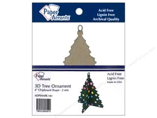 Paper Accents Chipboard Shape 4 in. 3D Ornament Tree 2 pc. Natural