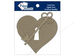 Paper Accents Chipboard Shape Heart With Lock & Key 6 pc. Kraft