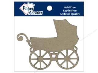 Paper Accents Chipboard Shape Baby Carriage 4 pc. Kraft