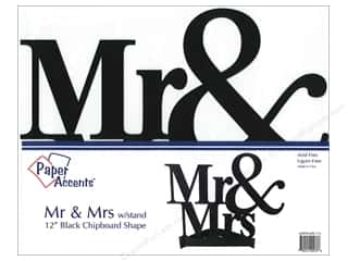 Paper Accents Chipboard Shape 11 in. Mr & Mrs 1 pc. Black