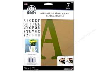craft & hobbies: Plaid FolkArt Alphabet & Monogram Paper Stencils 7 in. Serif Font