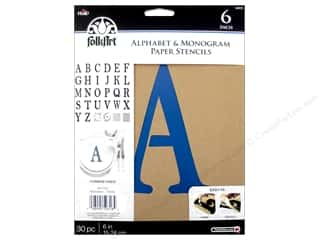 craft & hobbies: Plaid FolkArt Alphabet & Monogram Paper Stencils 6 in. Serif Font