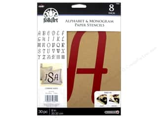 craft & hobbies: Plaid FolkArt Alphabet & Monogram Paper Stencils 8 in. Italic Font