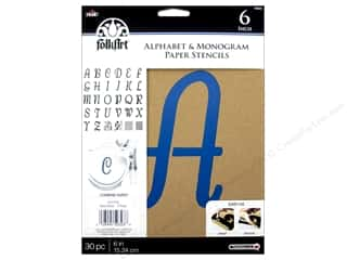 craft & hobbies: Plaid FolkArt Alphabet & Monogram Paper Stencils 6 in. Italic Font