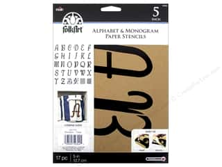 craft & hobbies: Plaid FolkArt Alphabet & Monogram Paper Stencils 5 in. Italic Font