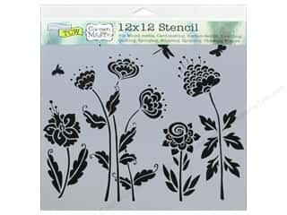 ruler: The Crafters Workshop Stencil 12 x 12 in. Carmen Medlin Flying Garden