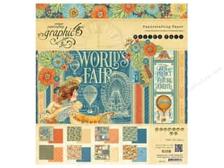 "Holiday Sale Printed Cardstock: Graphic 45 Collection World's Fair Paper Pad 8""x 8"""