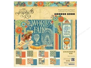 "Holiday Sale Printed Cardstock: Graphic 45 Collection World's Fair Paper Pad 12""x 12"""