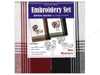 Dunroven House Towel Embroidery Set 2 Roosters 2pc
