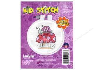 yarn & needlework: Janlynn Kid Stitch Cross Stitch Kit 3 in. Snail & Mushroom