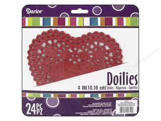"Darice Paper Doily Heart Red 4"" 24pc"
