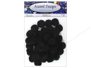 Pom Pom by Accent Design 1 in. Black 40 pc.