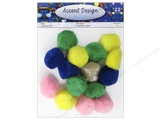 PA Essentials Pom Poms 1 1/2 in. Multi 15 pc.