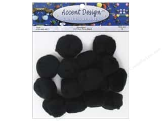 PA Essentials Pom Poms 1 1/2 in. Black 15 pc.